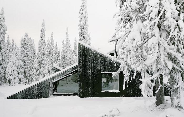 Cabin Vindheim - загородный дом с динамичным фасадом.