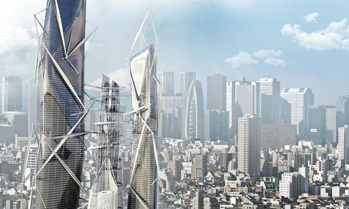 Концепт небоскреба, генерирующего энергию за счет людей.