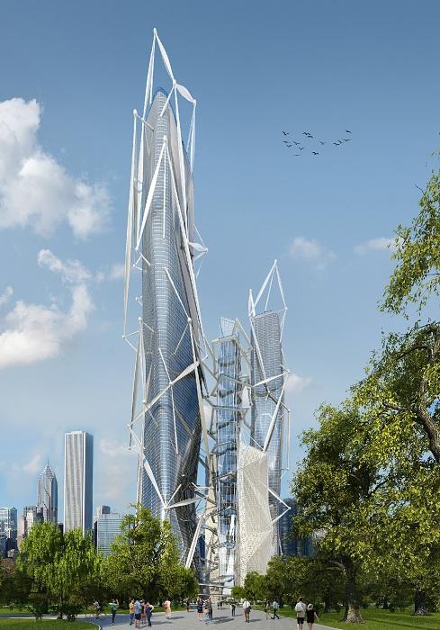 Концепт здания с экзоскелетом от бюро Arch group.