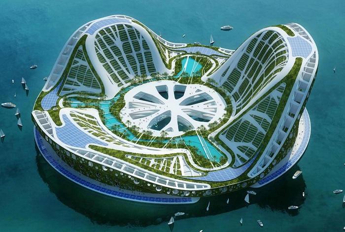 Грандиозный концепт города на воде.