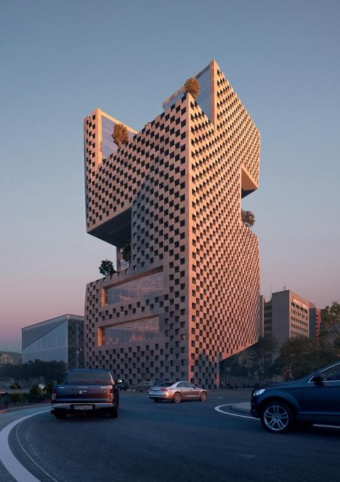 Здание с «шахматным» фасадом.