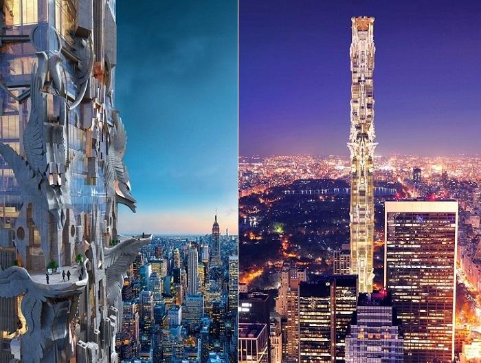Проект жилого небоскреба с горгульями на фасаде.