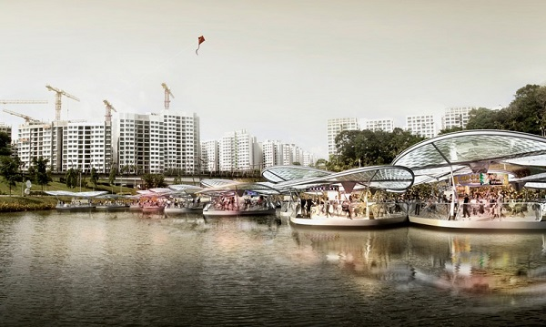 Плавучие платформы в Сингапуре.
