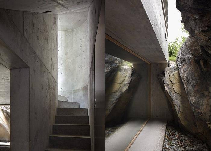 Двухярусный бетонный домик.