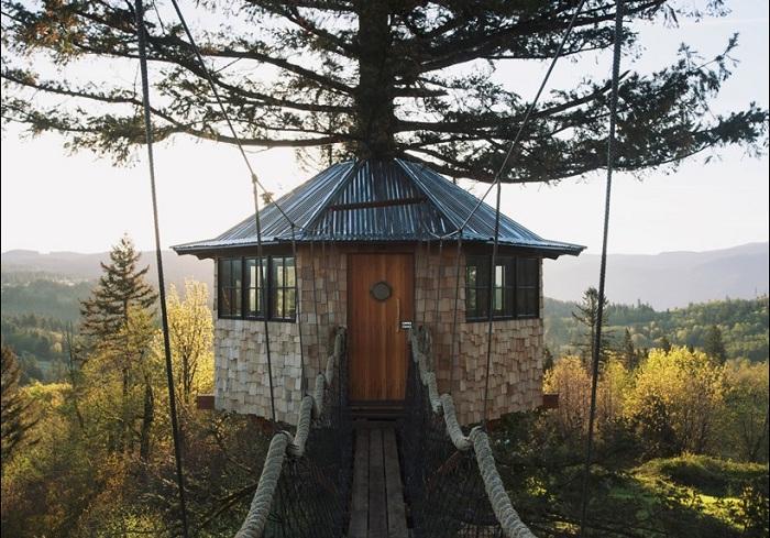 Дом на дереве, построенный американцем Foster Huntington.