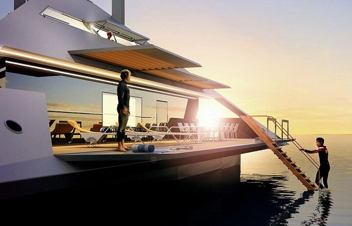 Tetrahedron Super Yacht. Палуба.