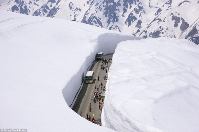 Дорога в Японии с 20-метровыми стенами из снега на обочине.