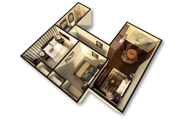 Трехмерная схема подземных апартаментов.