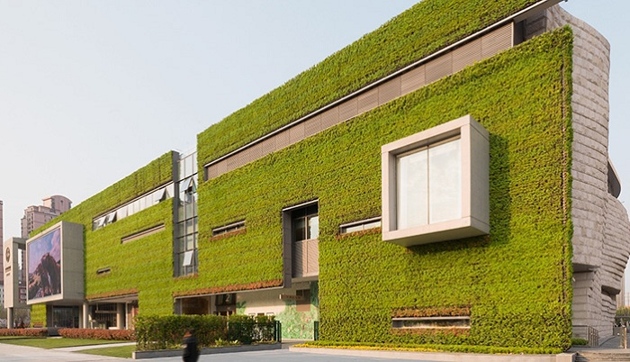 Музей Естествознания с зеленым фасадом.