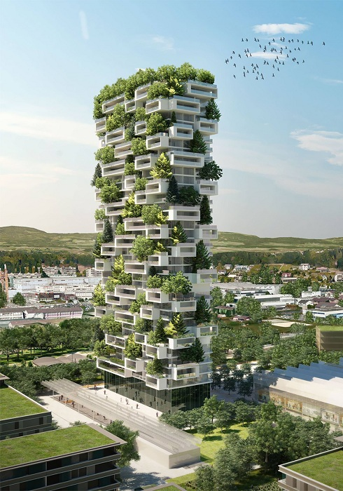 Кедровая башня - 117 метровое здание с деревьями на этажах.