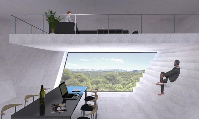 Интерьер в доме в виде перевернутой пирамиды.