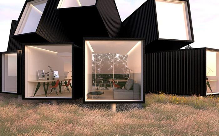 Визуализация нестандартного офисного пространства.
