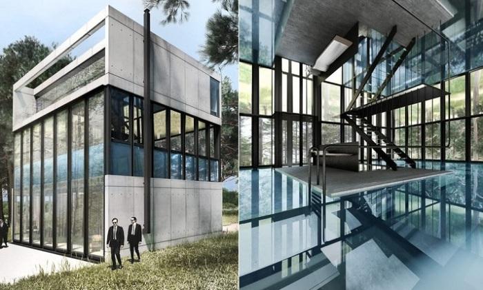 Villa Clessidra - концепт виллы со стеклянным бассейном на втором этаже.