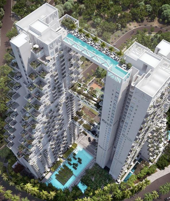 На 38-м этаже расположен 50-метровый бассейн.