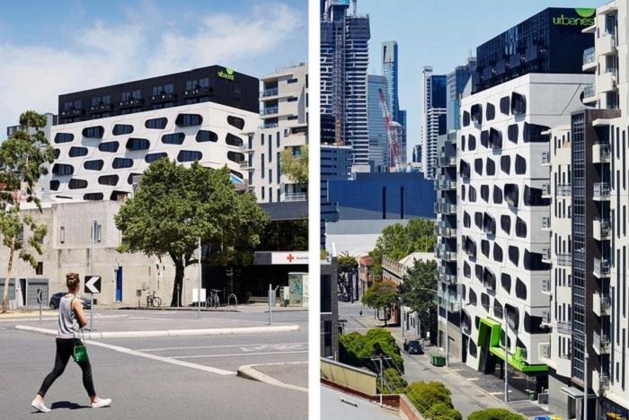 Общежитие с оригинальным фасадом.