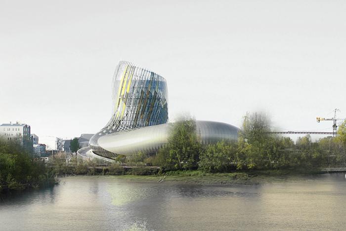 Музей вина в Бордо на берегу реки Гаронны.