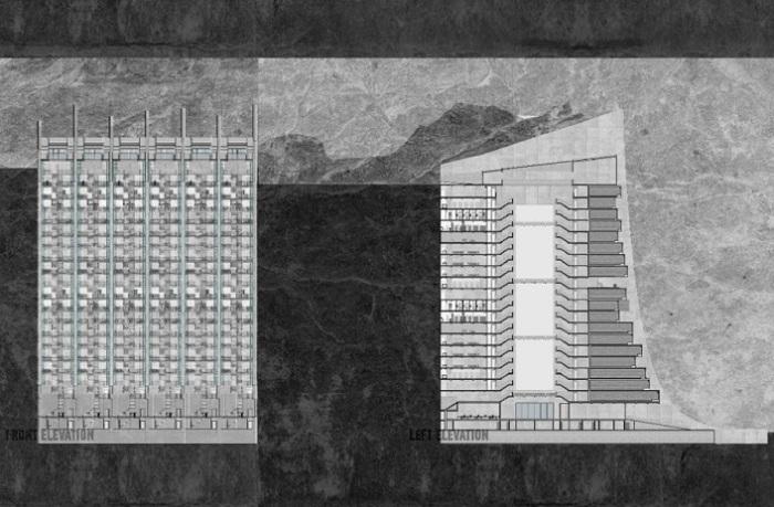 Схема расположения здания в скале.