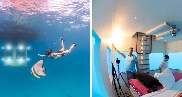 Manta Resort. Спальня расположена под водой.