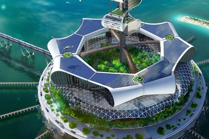Экологическая жилая платформа с возобновляемыми источниками энергии.