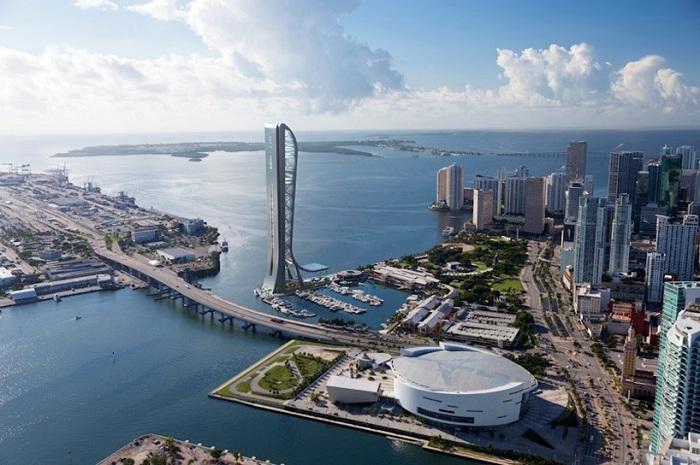 Панорама города Майями. Концепт будущей башни.