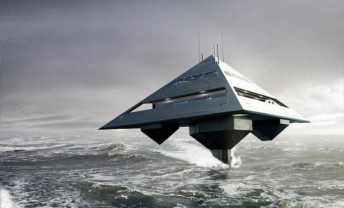 Tetrahedron Super Yacht - супер-яхта в форме тетраэдра.