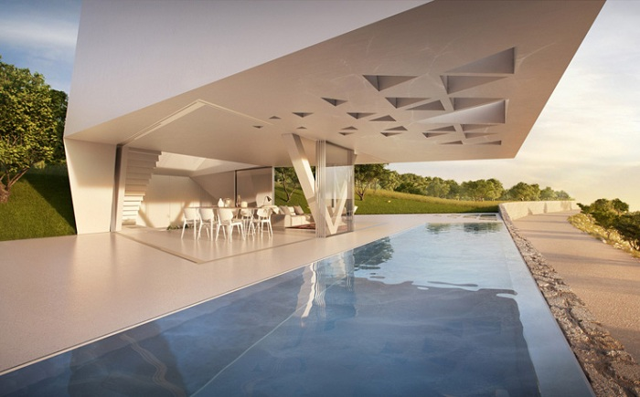 Villa F - вилла с геометрическим фасадом.