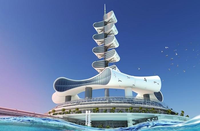 Проект отеля на воде от архитектора Richard Moreta Castillo.