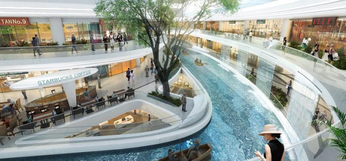 Торговый центр в Китае. Внутренний водяной канал.