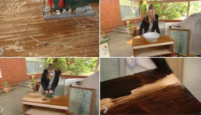 Из старого стола было решено сделать тумбу для раковины.