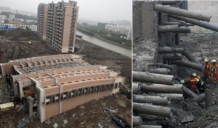 В Шанхае упал жилой дом.