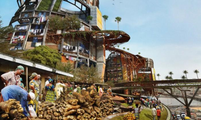 Антиутопический проект нигерийского архитектора  Olalekan Jeyifous.