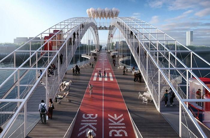 Проект лондонского моста для пешеходов и велосипедистов.