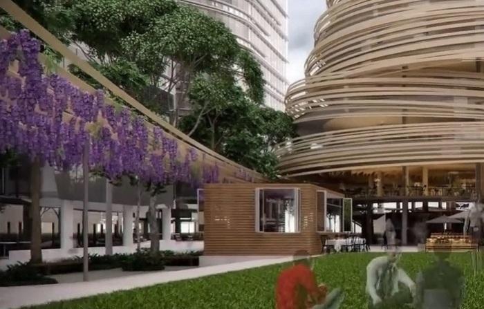 Будущая библиотека с общественными пространствами широкого назначения.