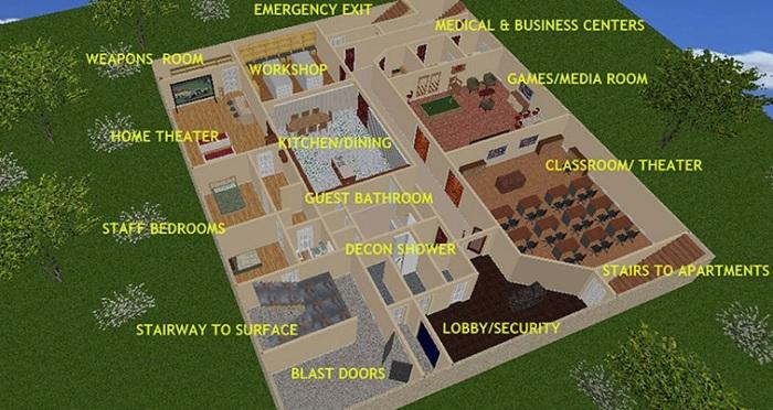 Роскошное подземное жилье площадью 370 кв. метров.