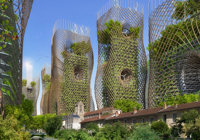 Bamboo nest towers.