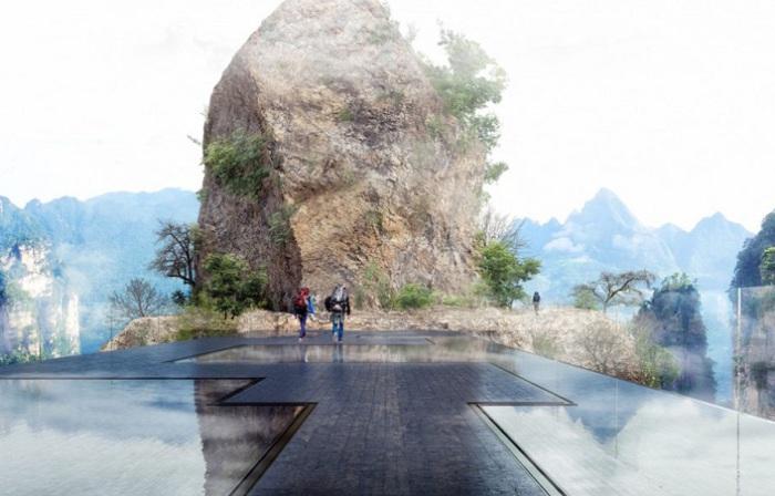 Проект стеклянного моста внациональном лесном парке Чжанцзянцзе (Китай).
