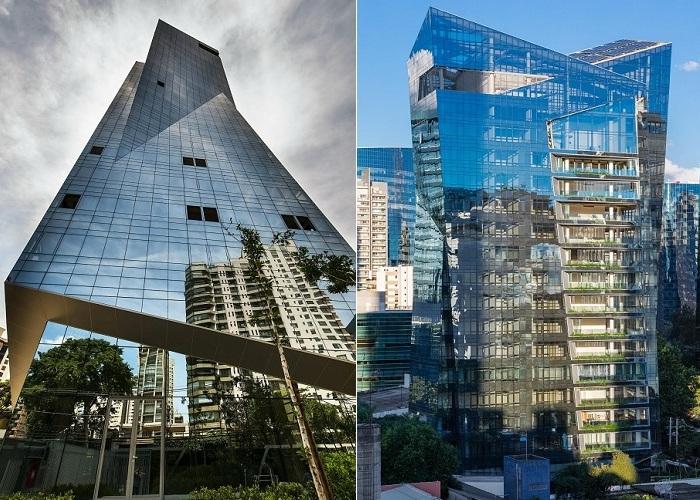 Жилая башня Vitra с асимметричным стеклянным фасадом.