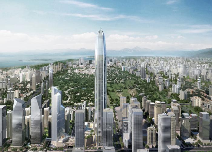 Ping An Finance Cente - небоскреб высотой 599 метров.