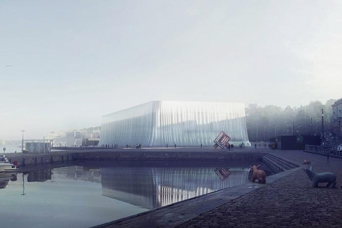Проект здания с «легким» стеклянным фасадом.