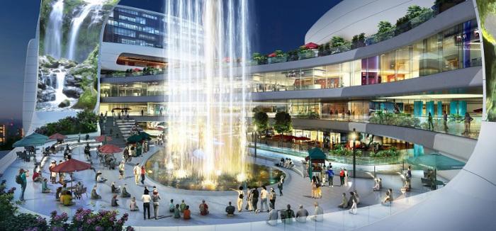 Торговый центр в Китае. Фонтан.