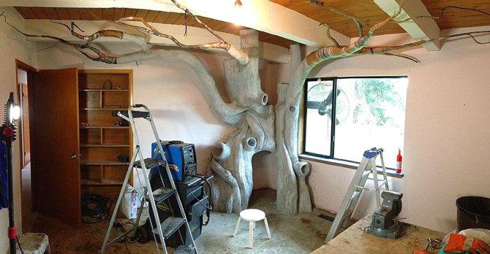 Поверхность «дерева» сделана из цементной смеси.