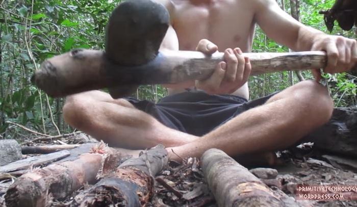 Первоначально парень сделал топор и долото из камня.