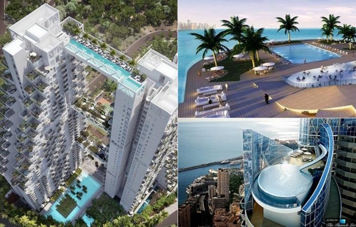 Самые оригинальные проекты зданий с потрясающими бассейнами на крышах.
