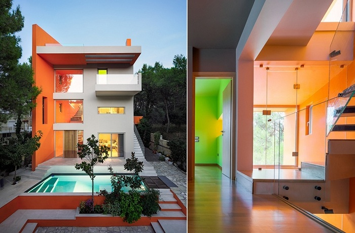 Яркий дом на окраине Афин (Греция).
