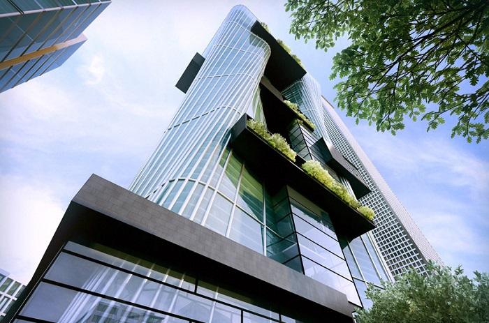 Спиралевидный фасад башен.