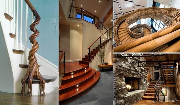 Деревянная лестница и окружающее пространство оформленное в морском стиле.