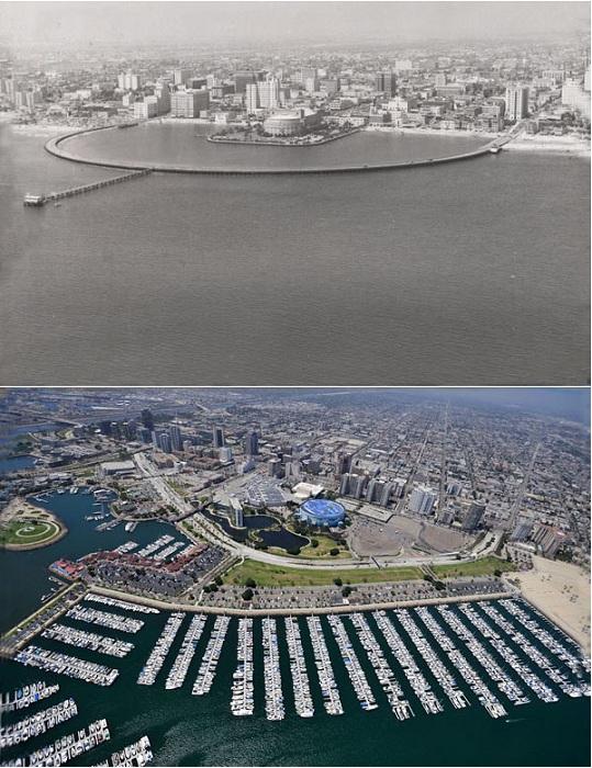 Знаменитые пляжи Калифорнии в 1953 и 2009 годах.