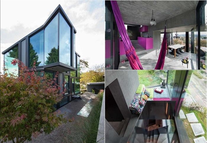 Угловатый стеклянный дом простота и