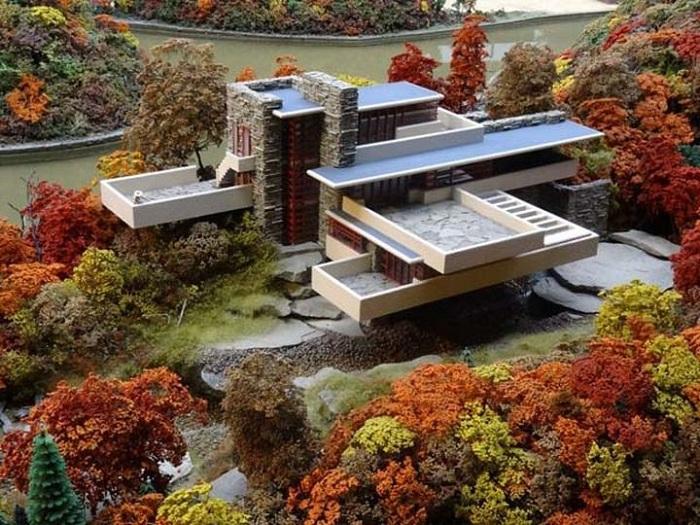 «Дом над водопадом», спроектированный архитектором Frank Lloyd Wright.