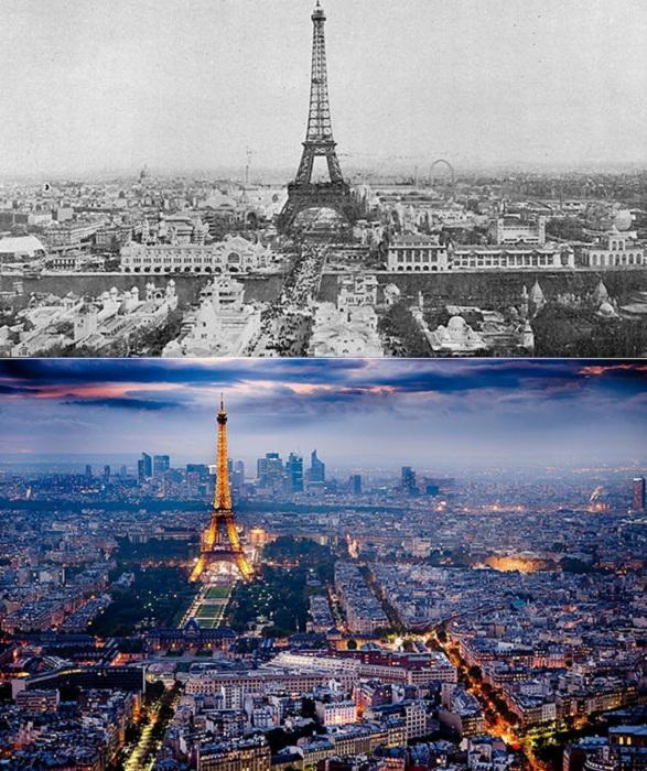 Снимки Парижа в 1900 и 2000 годах.